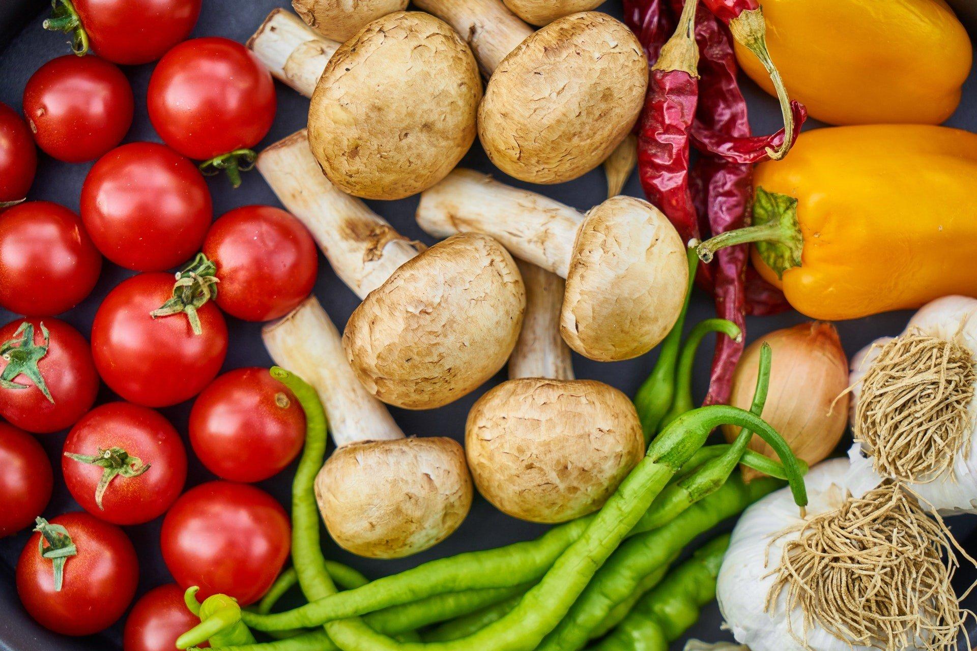 Fresh garden vegetables flat lay