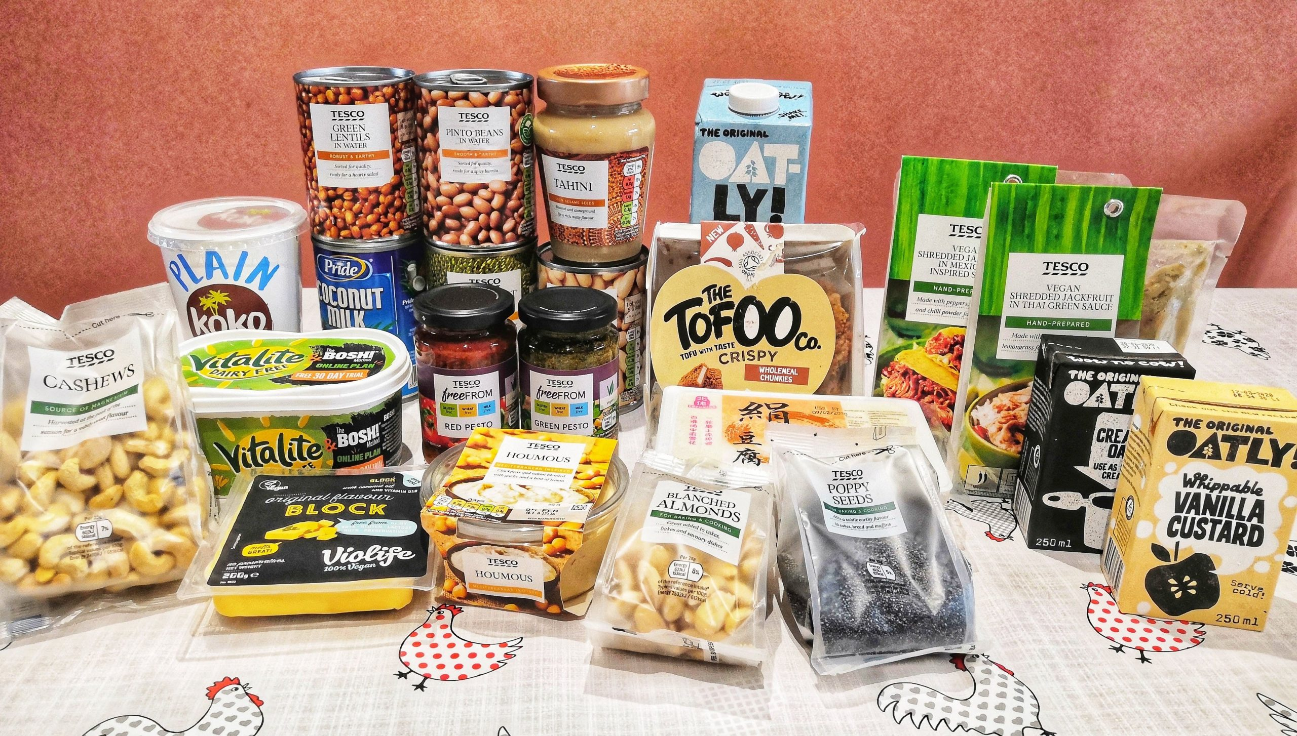 Vegan food products on a table