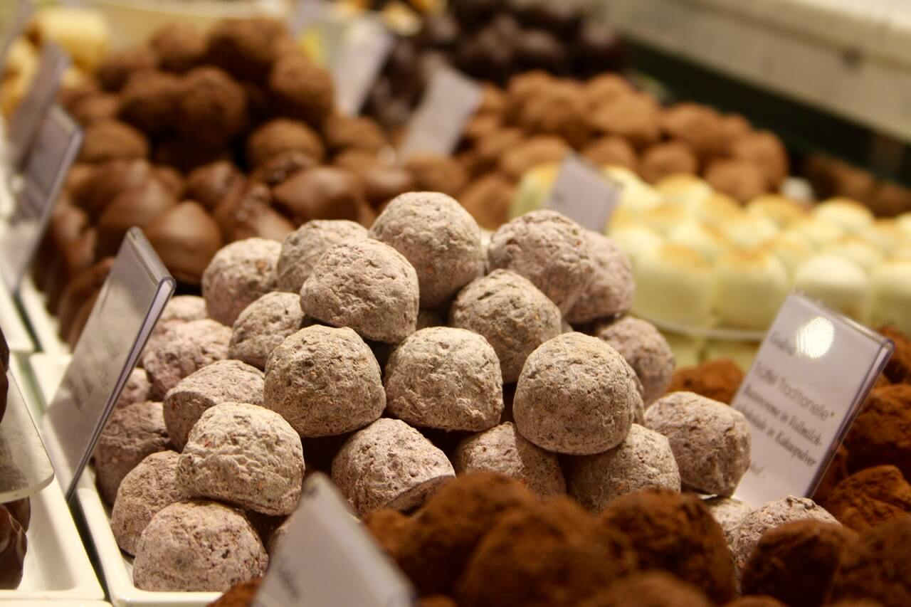 display of chocolate truffles as an edible gift