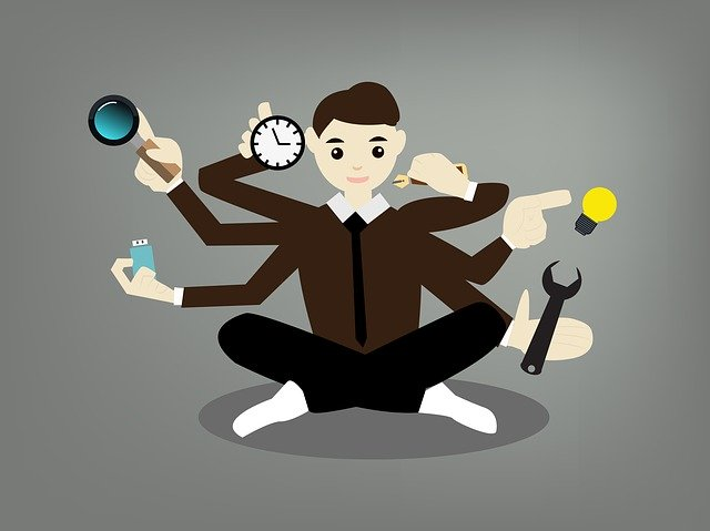 Person multitasking, doing too many things at once