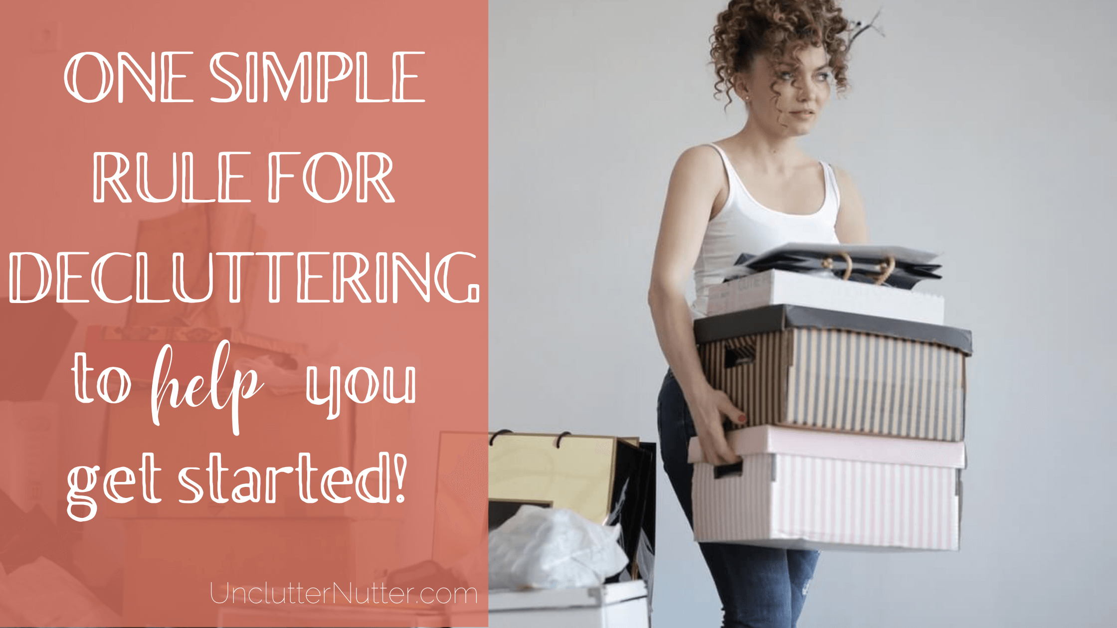 woman surrounded by clutter, carrying boxes while decluttering
